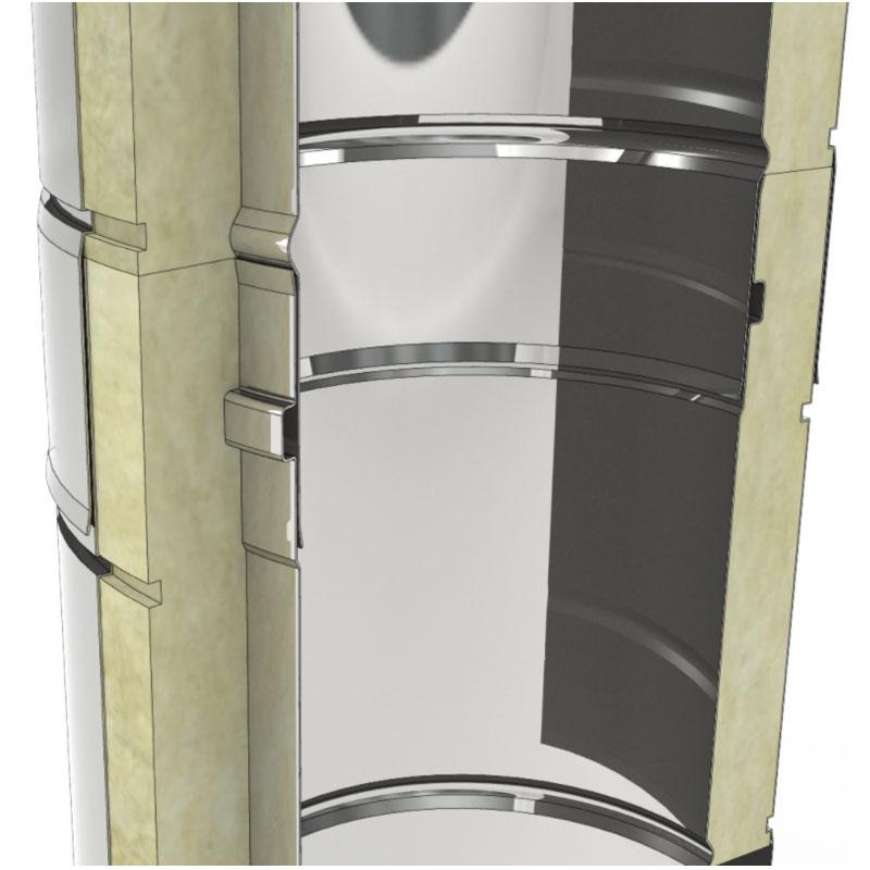 Schemazeichnung Edelstahlschornstein 3-schalig